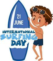 International Surfing Day banner with a boy surfer cartoon character isolated vector