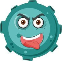 Asteroid cartoon character with crazy face expression on white background vector