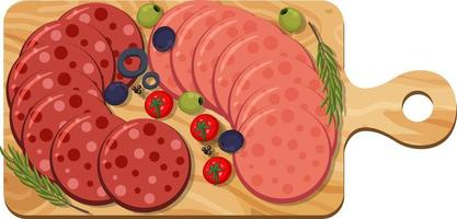 Pepperoni and salami on platter isolated on white background vector