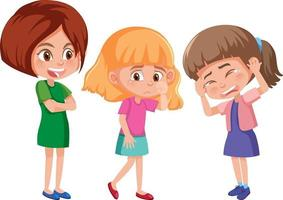 A young woman bullying two little girls cartoon character vector