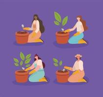 four planters illustrations vector