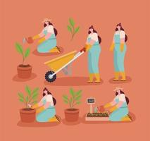 cute caucasian planters vector