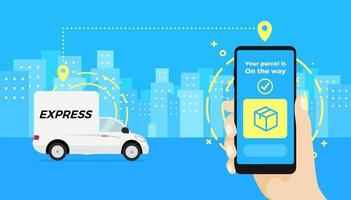 Fast delivery service app on smartphone. Hand holding a smartphone and checking the status of the parcel delivery car. vector