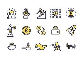 Simple set of Bitcoin line icons. Yellow Bitcoin or Cryptocurrency coin icons for website, application. vector