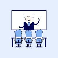 Businessmen sitting on chair, boss speaking from digital flat screen. Video conference. Cartoon character thin line style vector. vector