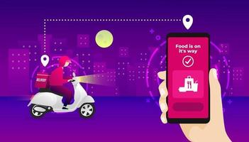 Night food delivery service by scooter with courier. Hand holding mobile application tracking a delivery man on a moped. city skyline in the night background. vector