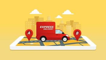 Express delivery service by truck. Checking delivery service app on mobile phone. vector