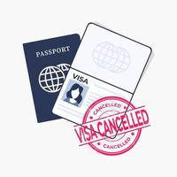 pasaporte con sello rojo, visa cancelada. vector