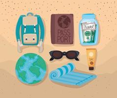 travel icons group vector