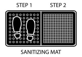 Disinfectant mat. Sanitizing mat. Antibacterial entry rug in glyph style. Disinfecting two-zone mat for shoes. Vector