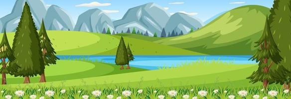 Panorama landscape scene with river flowing through in the meadow vector