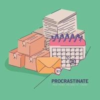 banner procrastinado verde vector