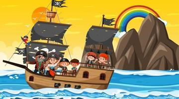 Ocean scene at sunset time with Pirate kids on the ship vector