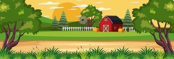 Farm horizontal landscape scene with red barn vector