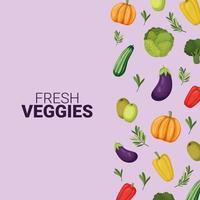 fresh veggies lettering vector