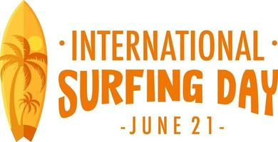 International Surfing Day logo banner isolated vector