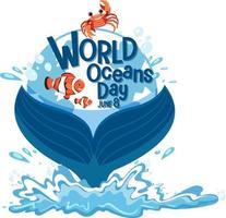 banner del día mundial del océano con cola de ballena aislado vector