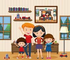 Happy family in the living room scene vector