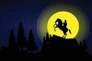 American Cowboy with horse Wild West Moon night landscape background vector