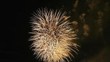 Colored fireworks in the dark sky, big shot 4k video