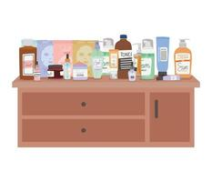 set of skincare icons on furniture with three drawers vector