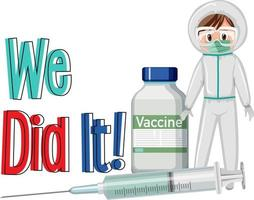 Covid-19 vaccination concept with a doctor cartoon character vector