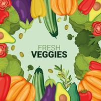 fresh veggies invitation vector