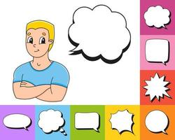 Set of speech bubbles of different shapes. With a cute cartoon character. Hand drawn. Thinking balloons. Vector illustration isolated on white background. Comic doodle style.
