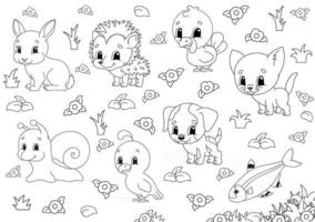 Coloring book for kids. Animal clipart. Cheerful characters. Vector illustration. Cute cartoon style. Black contour silhouette. Isolated on white background.