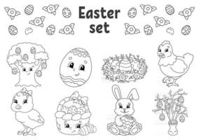 Coloring book for kids. Easter clipart. Cheerful characters. Vector illustration. Cute cartoon style. Black contour silhouette. Isolated on white background.