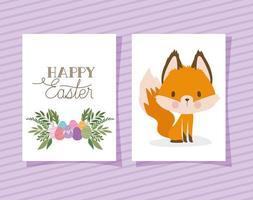invitación con letras de feliz pascua con un lindo zorro y una canasta llena de huevos de pascua sobre un fondo púrpura vector