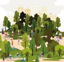 grupo de personas en un parque con bicicletas. vector