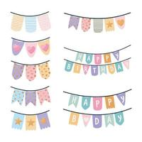 set of birthday garlands on a white background vector