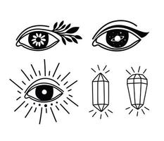 set of minimalist tattoos with eyes and diamonds vector