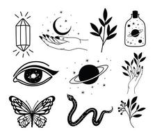bundle of minimalist tattoo on a white background vector