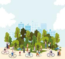 grupo de personas en un parque y cielo azul vector