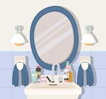 bathroom with set of skincare products vector