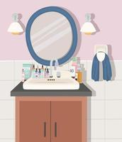 bathroom with a skincare products vector