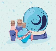 love potion and crystal ball on a blue background vector