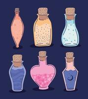 set of esoteric potions on a purple background vector
