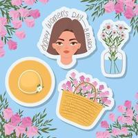 Feliz día de la mujer 8 de marzo letras, hermosa mujer con cabello castaño, canasta llena de rosas y un sombrero vector