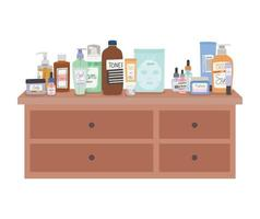 set of skincare icons on furniture with four drawers vector