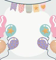 garland and birthday balloons on a gray background vector