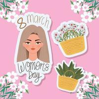 8 de marzo letras del día de la mujer, hermosa mujer con cabello castaño claro y cestas con flores. vector
