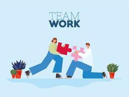 Letras de trabajo en equipo y hombre y mujer con una pieza de rompecabezas cada uno sobre un fondo azul vector