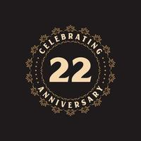 22 anniversary celebration, Greetings card for 22 years anniversary vector