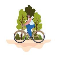 Hombre sobre una bicicleta marrón en un parque vector