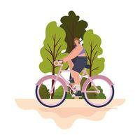 Mujer sobre una bicicleta morada en un parque vector