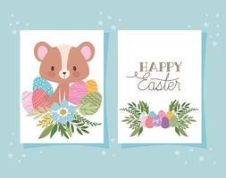 invitación con letras de feliz pascua, un lindo oso y una canasta llena de huevos de pascua vector