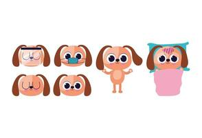 set of cute doggys stickers vector